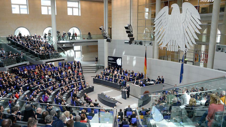 Der Plenarsaal während der Ansprache von Bundespräsident Frank-Walter Steinmeier