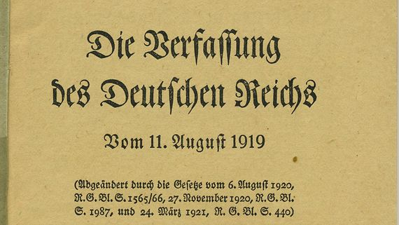 Titelseite der Ausgabe 1921 der Verfassung des Deutschen Reichs vom 11. August 1919